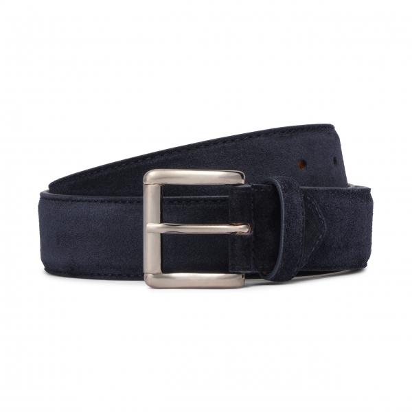 Viola Milano - Classic Italian Suede Belt - Navy - Handmade in Italy - Luxury Exclusive Collection
