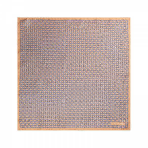 Viola Milano - Chain Pattern Silk Pocket Square - Orange - Handmade in Italy - Luxury Exclusive Collection