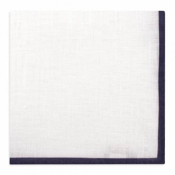 Viola Milano - Classic Linen Pocket Square - Navy - Handmade in Italy - Luxury Exclusive Collection