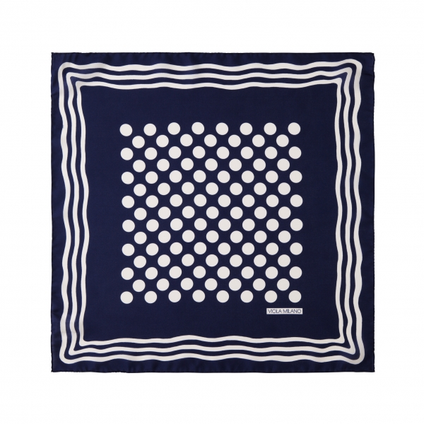 Viola Milano - Dot Wave Silk Pocket Square - Navy and White - Handmade in Italy - Luxury Exclusive Collection