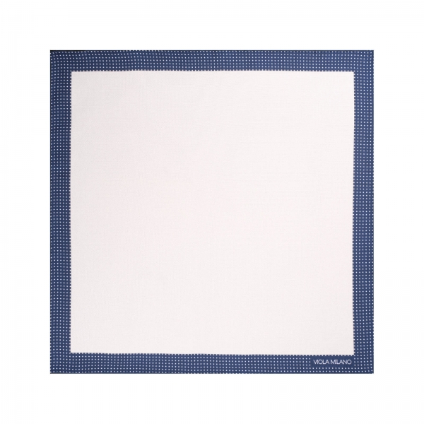 Viola Milano - Frame Polka Dot Silk Pocket Square - Navy and White - Handmade in Italy - Luxury Exclusive Collection
