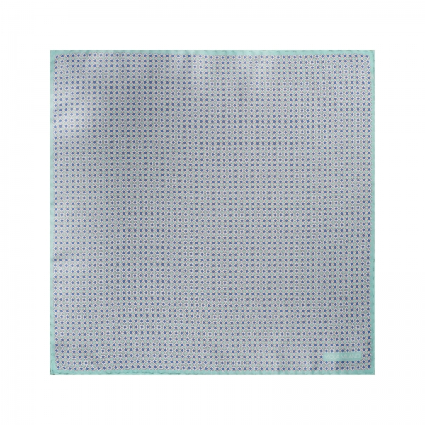 Viola Milano - Micro Pattern Silk Pocket Square - Ice - Handmade in Italy - Luxury Exclusive Collection