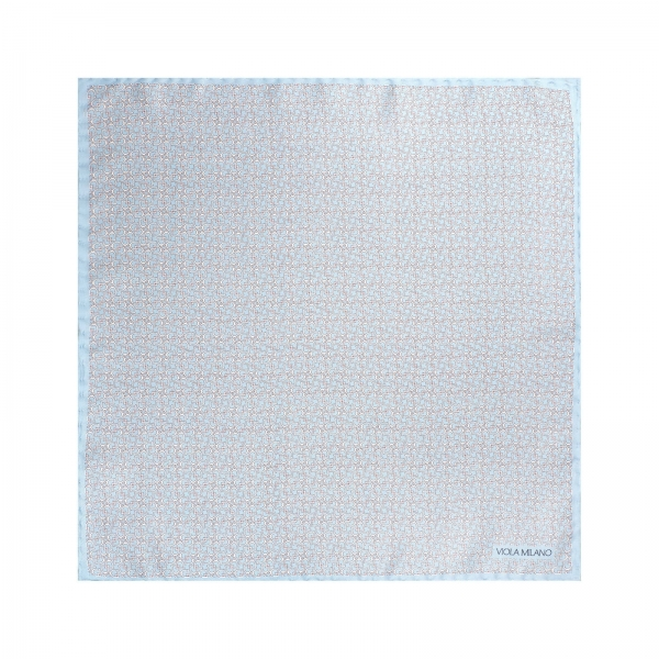 Viola Milano - Micro Stirrups Silk Pocket Square - Light Blue - Handmade in Italy - Luxury Exclusive Collection