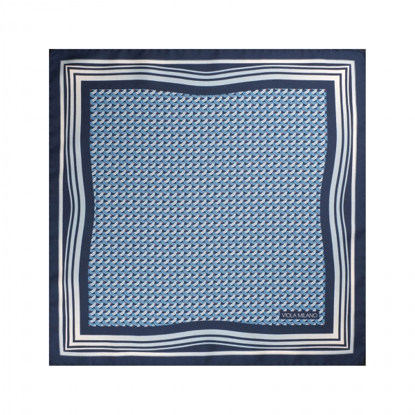 Viola Milano - Micro Wave Silk Pocket Square - Light Blue - Handmade in Italy - Luxury Exclusive Collection