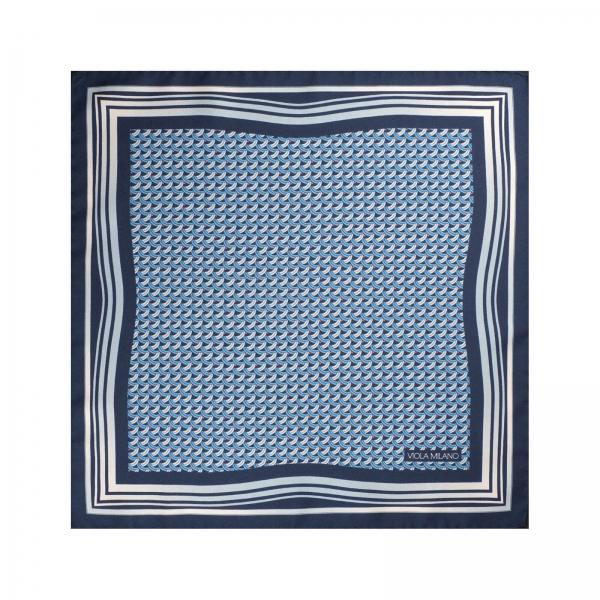 Viola Milano - Pochette Micro Onde in Seta - Azzurro - Handmade in Italy - Luxury Exclusive Collection