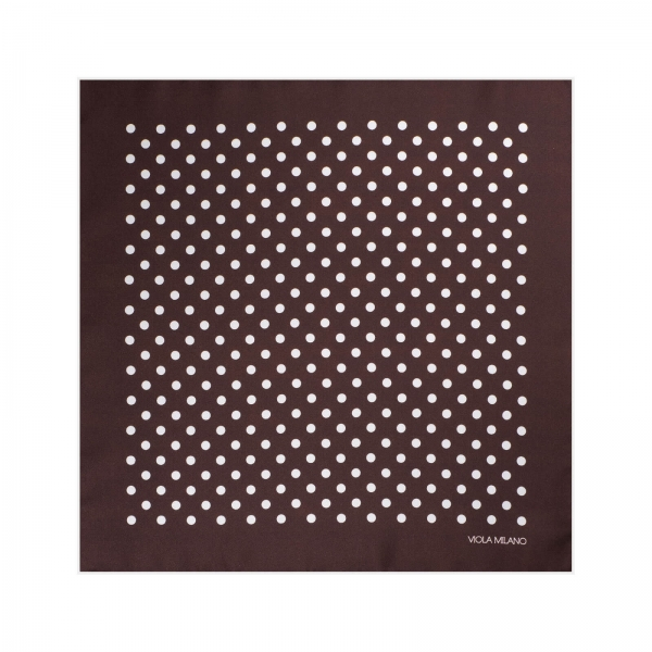 Viola Milano - Polka Dot Silk Pocket Square - Brown and White - Handmade in Italy - Luxury Exclusive Collection