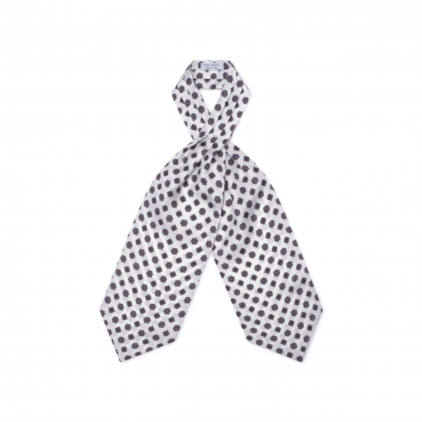 Viola Milano - Floral Italian Silk Ascot Tie - White - Handmade in Italy - Luxury Exclusive Collection