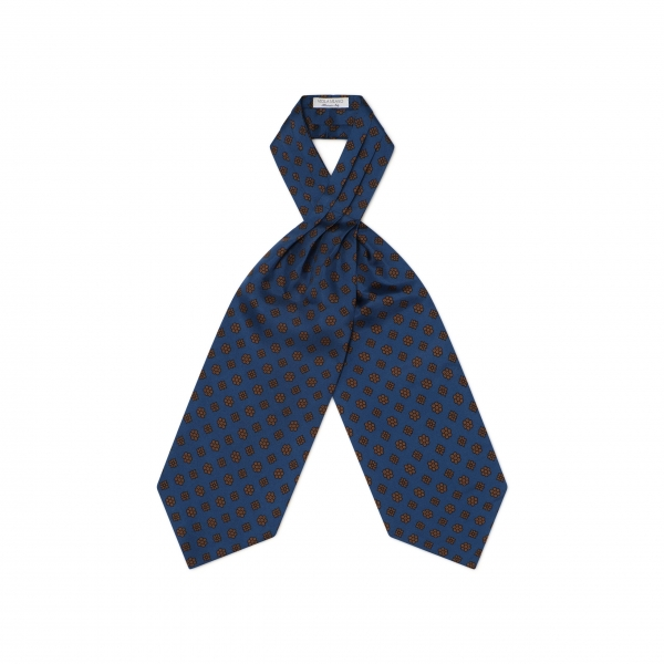 Viola Milano - Floral Italian Silk Ascot Tie - Navy and Brown - Handmade in Italy - Luxury Exclusive Collection