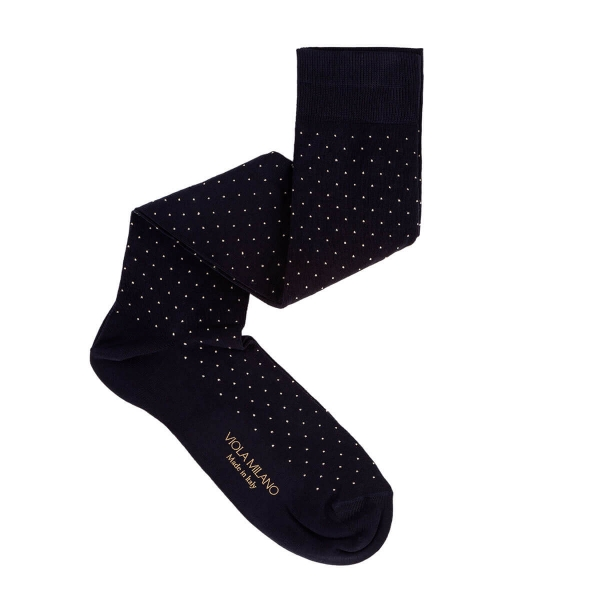Viola Milano - Dot Over-the-Calf Cotton and Silk Socks - Navy and White - Handmade in Italy - Luxury Exclusive Collection
