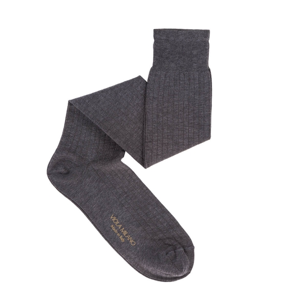 Viola Milano - Solid Over-the-Calf Cotton and Silk Socks - Light Grey - Handmade in Italy - Luxury Exclusive Collection