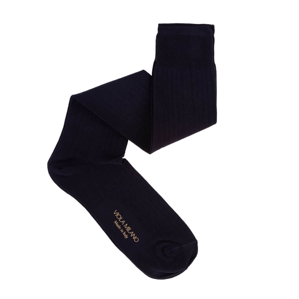 Viola Milano - Solid Over-the-Calf Cotton and Silk Socks - Navy - Handmade in Italy - Luxury Exclusive Collection