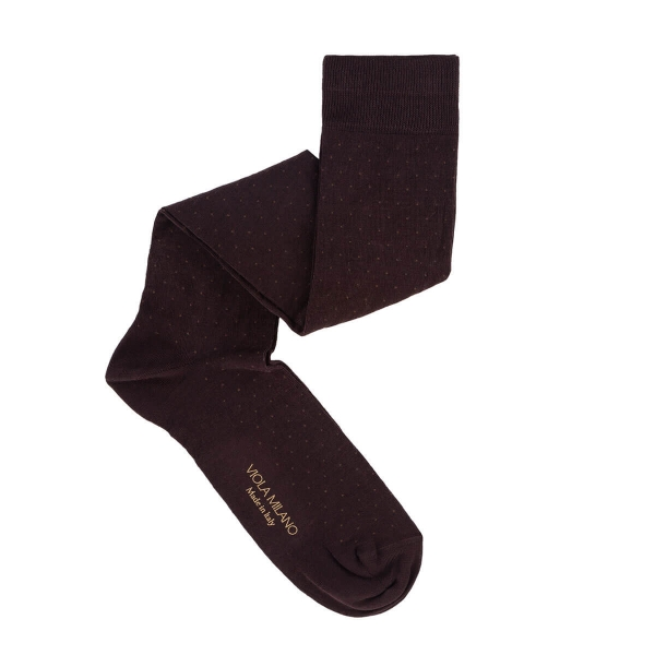 Viola Milano - Dot Over-the-Calf Cotton and Silk Socks - Brown Mix - Handmade in Italy - Luxury Exclusive Collection