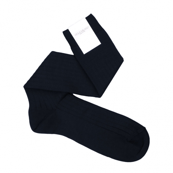 Viola Milano - Solid Over-the-Calf Socks - Navy - Handmade in Italy - Luxury Exclusive Collection