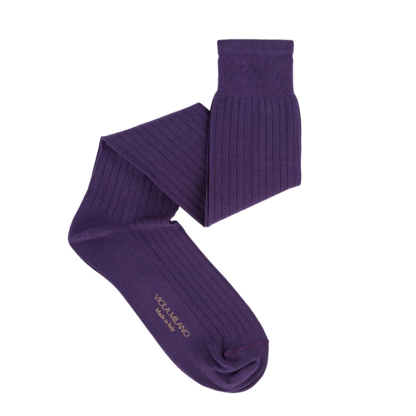 Viola Milano - Solid Over-the-Calf Cotton and Silk Socks - Purple - Handmade in Italy - Luxury Exclusive Collection