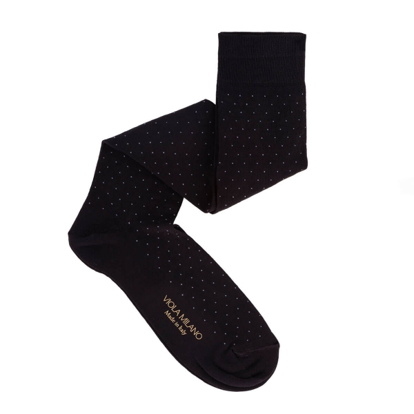 Viola Milano - Dot Over-the-Calf Cotton and Silk Socks - Black and Grey - Handmade in Italy - Luxury Exclusive Collection