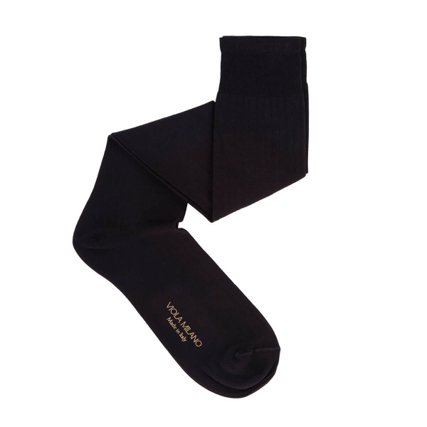 Viola Milano - Solid Over-the-Calf Cotton and Silk Socks - Black - Handmade in Italy - Luxury Exclusive Collection