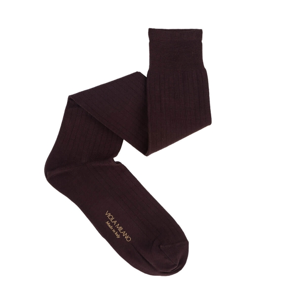 Viola Milano - Solid Over-the-Calf Cotton and Silk Socks - Dark Brown - Handmade in Italy - Luxury Exclusive Collection