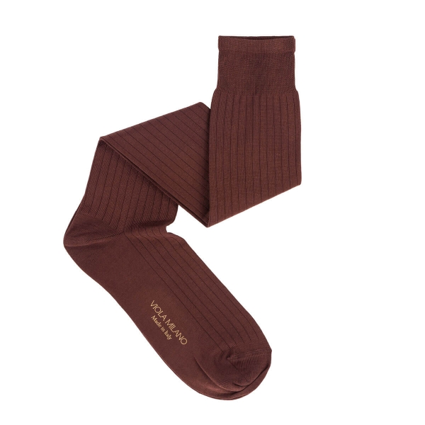 Viola Milano - Solid Over-the-Calf Cotton and Silk Socks - Cola - Handmade in Italy - Luxury Exclusive Collection