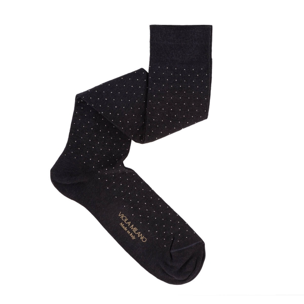 Viola Milano - Dot Over-the-Calf Cotton and Silk Socks - Grey Mix - Handmade in Italy - Luxury Exclusive Collection