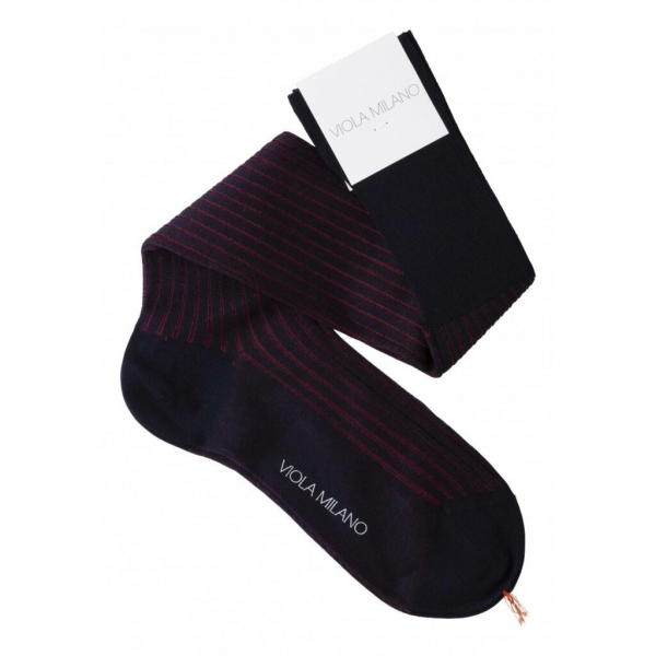 Viola Milano - Contrast Striped Over-the-Calf Cotton Socks - Navy and Wine - Handmade in Italy - Luxury Exclusive Collection