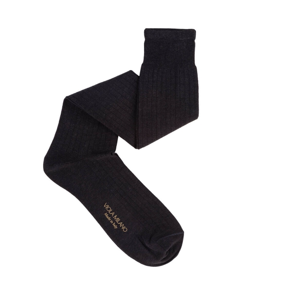 Viola Milano - Solid Over-the-Calf Cotton and Silk Socks - Dark Grey - Handmade in Italy - Luxury Exclusive Collection