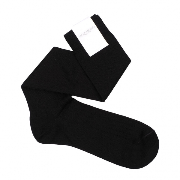 Viola Milano - Solid Over-the-Calf Socks - Black - Handmade in Italy - Luxury Exclusive Collection