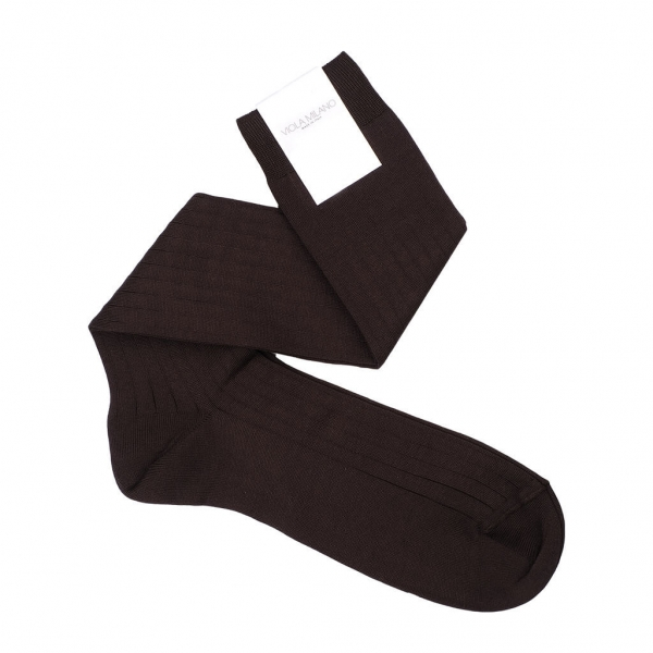 Viola Milano - Solid Over-the-Calf Socks - Brown - Handmade in Italy - Luxury Exclusive Collection