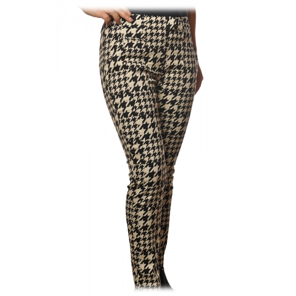 Dondup - Trousers Perfect in Piedepull Pattern - Black/Cream - Trousers - Luxury Exclusive Collection