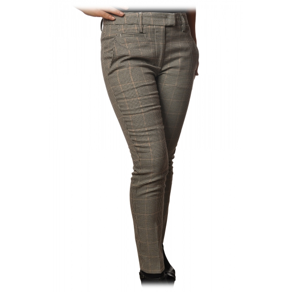 Dondup - Trousers Model Perfect in Piedepull Pattern - Black/Cream - Trousers - Luxury Exclusive Collection