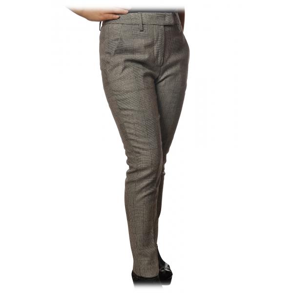 Dondup - Pantalone Modello Top in Fantasia Check - Nero/Bianco - Pantalone - Luxury Exclusive Collection