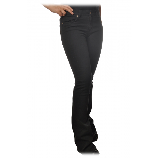 Dondup - Trousers Model Lola with Flare Leg - Black - Trousers - Luxury Exclusive Collection