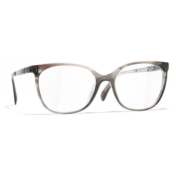 Chanel - Occhiali da Vista Quadrati - Grigio Trasparente - Chanel Eyewear