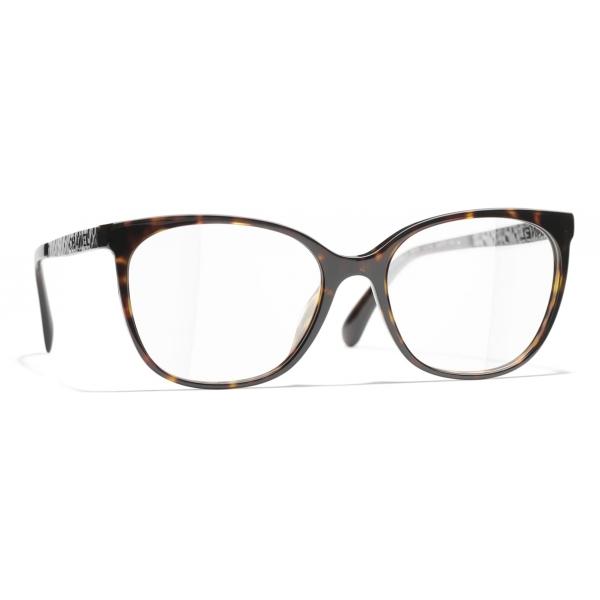 Chanel - Occhiali da Vista Quadrati - Tartaruga Scuro - Chanel Eyewear
