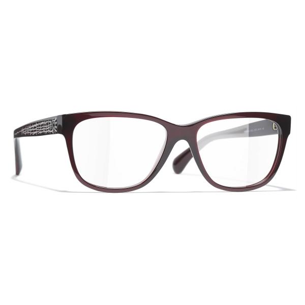 Chanel - Occhiali da Vista Rettangolari - Rosso Scuro - Chanel Eyewear