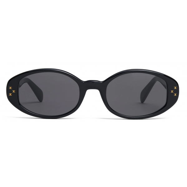 Céline - Oval S212 Sunglasses in Acetate - Black - Sunglasses - Céline Eyewear
