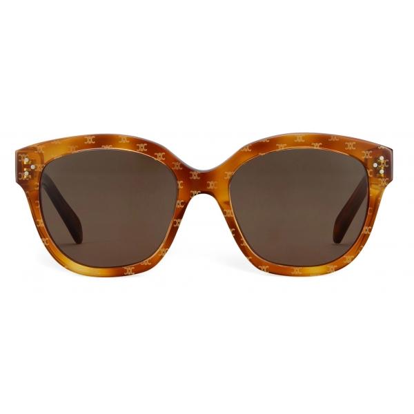 Céline - Occhiali da Sole Squadrati S167 in Acetato  con Motivo Triomphe - Havana Chiaro - Occhiali da Sole - Céline Eyewear