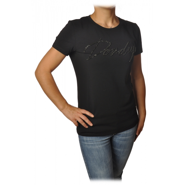 Dondup - T-shirt con Logo in Castoni - Nero - T-shirt - Luxury Exclusive Collection