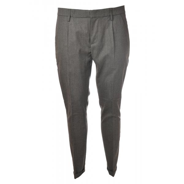 Dondup - Pantalone in Lana Modello Gaubert Pinces - Grigio - Pantalone - Luxury Exclusive Collection