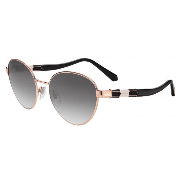 Bulgari - Serpenti - Back to Scale Oval Metal Sunglasses - Black Gold Grey - Serpenti Collection - Sunglasses - Bulgari Eyewear