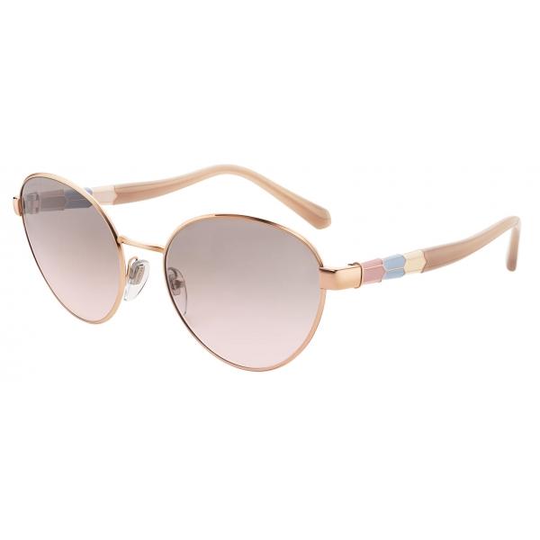 Bulgari - Serpenti - Back to Scale Oval Metal Sunglasses - Rose Gold Grey - Serpenti Collection - Sunglasses - Bulgari Eyewear