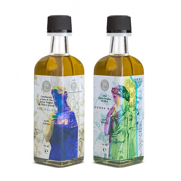 Olio le Donne del Notaio - Grab & Go - Bottiglia di Vetro  - Extravergine d'Oliva - Alta Qualità Italia - Abruzzo - 2 x 60 ml