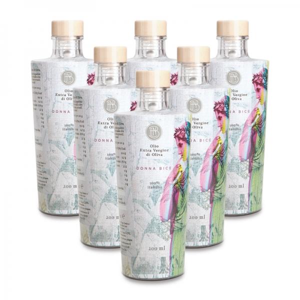Olio le Donne del Notaio - Donna Bice - Bottiglia di Vetro  - Extravergine d'Oliva - Alta Qualità Italia - Abruzzo - 6 x 200 ml