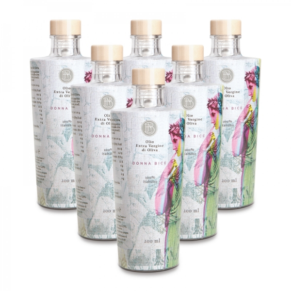 Olio le Donne del Notaio - Donna Bice - Glass Bottle - Extra Virgin Olive Oil - Artisan - Italian High Quality - 6 x 200 ml