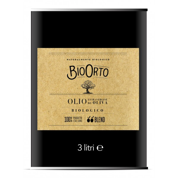 BioOrto - Blend Peranzana Ogliarola - Organic Italian Extra Virgin Olive Oil - 3 l