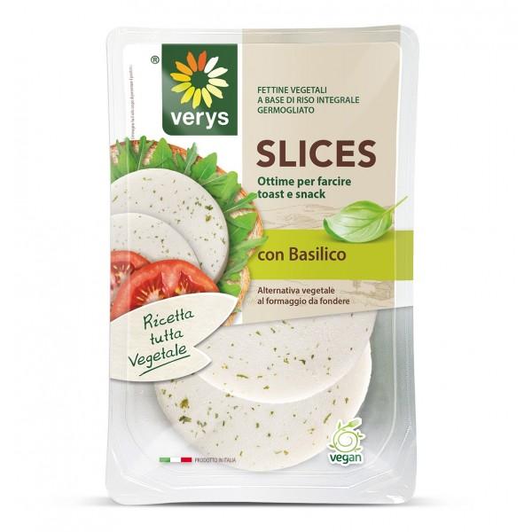 Verys - VerySlices gusto Basilico - Slices Vegane di Riso - Formaggio a Base di Riso Integrale Germogliato - Vegan Bio - 80 g