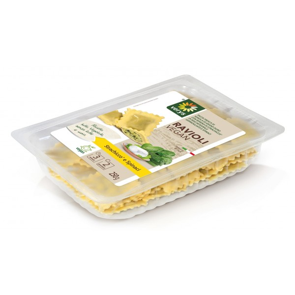Verys - Ravioli Vegan with Spreadable Classic and Spinach - Ravioli Vegan - Fresh Meals - Vegan Organic - 250 g