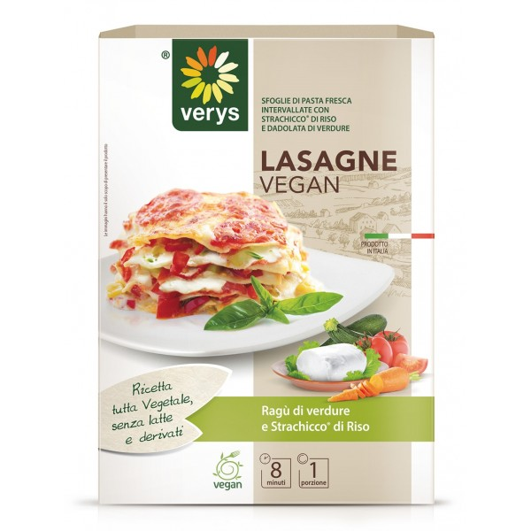 Verys - Lasagne Vegan with Vegetables and Spreadable Classic - Lasagne Vegan - Ready to Eat Meals - Vegan Organic - 300 g