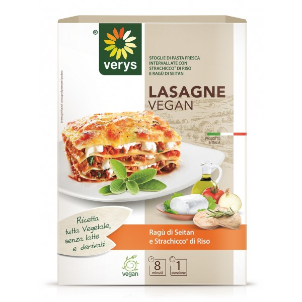 Verys - Lasagne Vegan with Seitan and Spreadable Classic - Lasagne Vegan - Ready to Eat Meals - Vegan Organic - 300 g