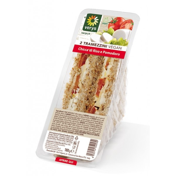 Verys - Sandwiches with Vegan Mozzarella Classic and Tomato - Tramezzini Vegan - Snack - Vegan Organic - 2 x 90 g