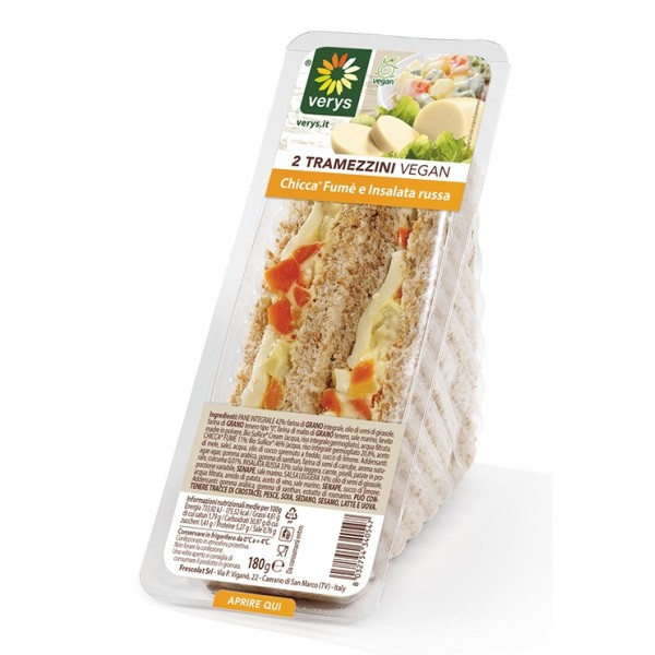Verys - Sandwiches with Vegan Mozzarella Smoked Flavour and Olivier Salad - Tramezzini Vegan - Snack - Vegan Organic - 2 x 90 g